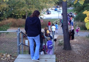 This staircase is the main point of access for students walking to and from school at Northwoods Elementary