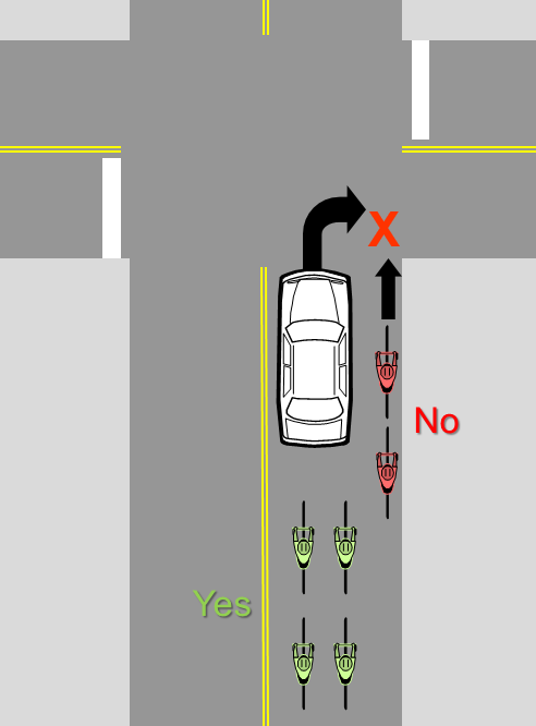 Bicyclist should not move up on the right of motorists at intersections. They should queue behind the motor vehicles. Image: Steven Goodridge.